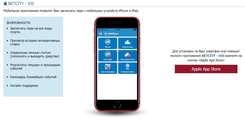 betcity приложение для iphone
